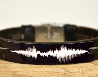 FAST SHIPPING, Men's Leather Bracelet, Sound Wave Bracelet, Men's Personalized, Black Cuff Bracelet, For Men's Bracelet, For Him Bracelets
