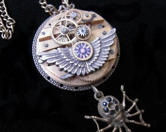 Steampunk spider room Angel Wings necklace unique Steampunk necklace angel's wings spider 125