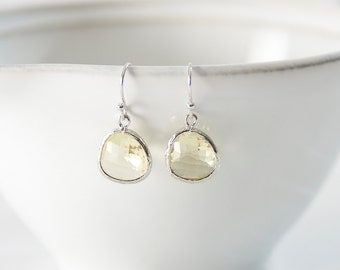 Little Silver and Primrose Raindrop Earrings