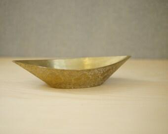 Ornate Vintage Brass Dish / Boat-Shaped Trinket Dish / India