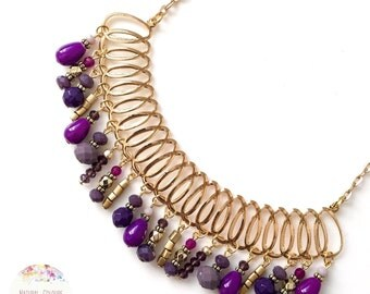 Purple agate & crystals short golden necklace, short necklace, golden necklace, beaded necklace, boho, bohemian necklace, gypsy, hippie