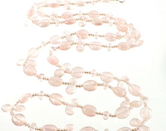 "Long Beaded Necklace - Rose Quartz - Beaded Necklace - 36-1/2"" long - #1354"
