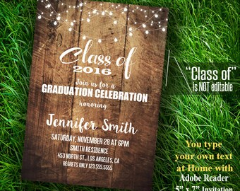Graduation Invitation, Class of 2016 party, Grad party, Self Editable Instant Download PDF file A489