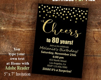 Surprise party, Cheers to any years, Printable Invitation, Instant Download Editable PDF file A933