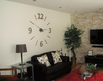 """122 cm (48 """") silver wall clock reclaimed barn wood natural maybe painted giant wall clock-oversized wall clock, large 3D numbers"""
