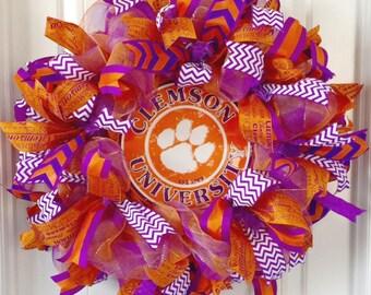 Clemson Tigers Wreath, Clemson University Wreath, Clemson Wreath, Clemson Deco Mesh Wreath, Clemson Graduation Gift, Dorm Room Decor