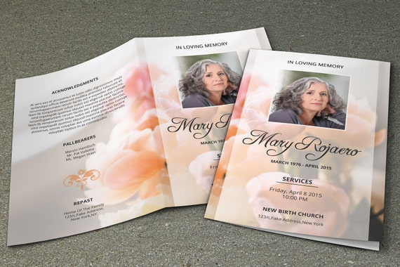 Funeral program template obituary template photoshop and for Obituary pamphlet template
