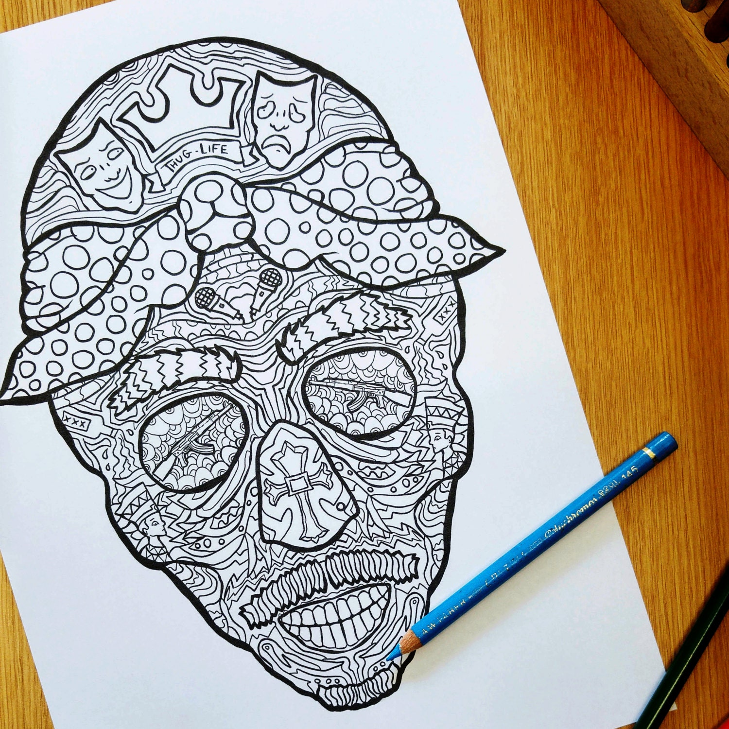 Tupac Sugar Skull Complicated Coloring Page Day Of The