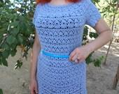 Blue summer dress Crocheted dress Lace dress Dress handmade Dress microfiber Dress cotton Dress for girls Dress MIDI Dress custom made