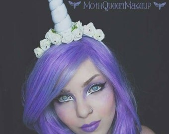 Unicorn headband with flowers and swarovski crystals