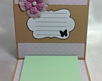 Pink and white Post It Note Holder, Mothers Day gift, teacher gift, handmade gift, gift for friend, pink flower