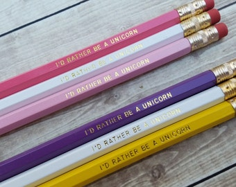 "Delta Phi Epsilon ""I'd Rather Be A Unicorn"" Pencil Set"