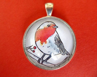 Red Robin Glass Dome Pendant Necklace
