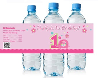 Baby Pink Elephant 1st Birthday Water Bottle Labels, Baby Jungle Party Supplies, Baby Elephant Birthday Water Bottle Wrappers