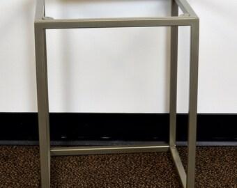 Metal Table Base 15x13x19 - Side Table, End Table, Nightstand, Steel, Modern, Industrial, Satin Nickel, Occasional, Legs