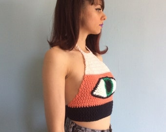 PINK FLAMINGO Crop Top / Halter / Festival / Crochet Top / Original / Crochet Couture / Eye / Sweater / Knit Wear / Wearable Art