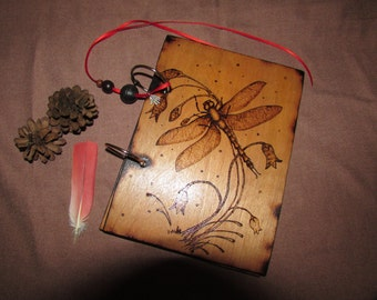 Two Ring Wood Binder - Decorated with Pyrography - Custom Hand Made - Just For You