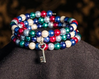 Memory Coil Multi colored pearl bracelet with silver heart key charm