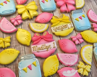2 doz Pink Lemonade Stand Birthday Sugar Cookies