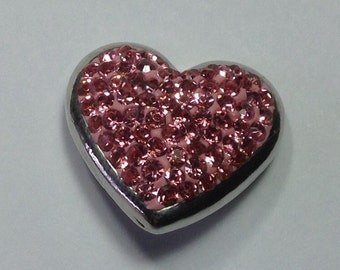 New! PINK JEWELED HEART Snap...Silver border... Fits 18-20mm