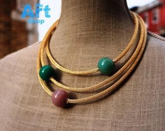Murano Glass Beads Necklace, Blown Glass Jewelry, Handmade Venetian Glass Necklace, Unique Italian Glass Jewelry, Anti-Allergic, 925 Silver