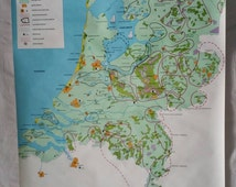 Pull down chart The Netherlands Holland recreation theme vintage school map school chart industrial