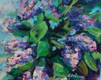 Acrylic Still-life painting, Original Impressionist Art flowers, Lilac, square 40x40cm