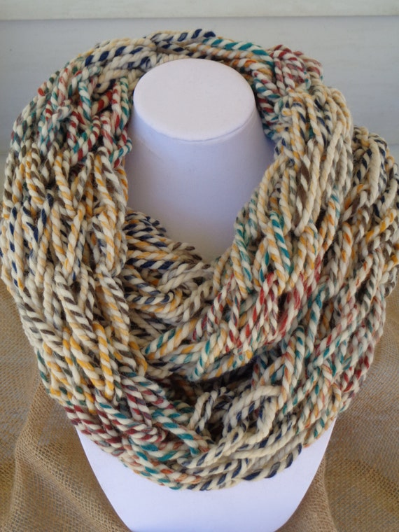 Multi Colored Scarf Knitting Pattern : Items similar to Infinity Scarf, Multi-Colored Scarf, Chunky Scarf, Knit Scar...