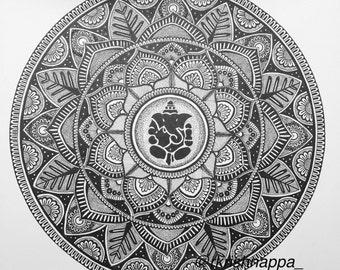 Ganesha Mandala Art Print