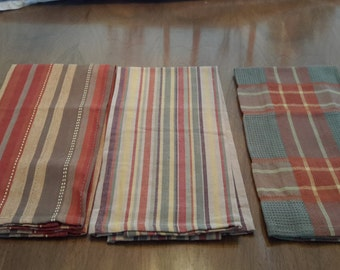Set of 3 Striped and Plaid Cotton Dish towels in fall colors, Made in Pakistan