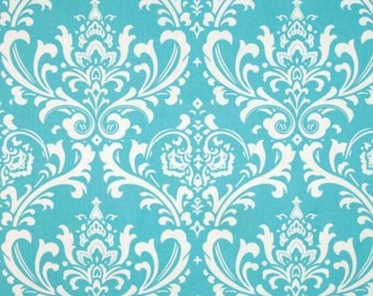 """Scallop, shaped valance, traditions damask, girly blue, light aqua and white 42"""" x 16"""""""