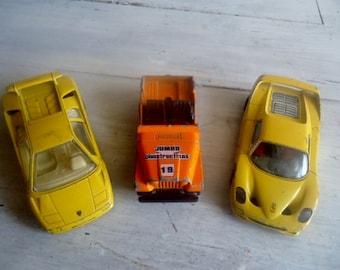 3 collectible cars,vintage toys,Lamborghini  and Ferrari (from Burago)  ,Jeep (fromMajorette)