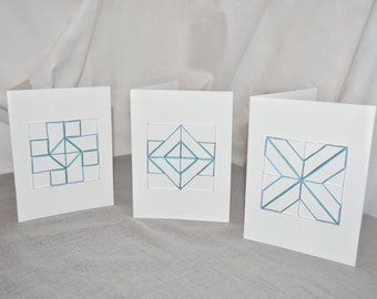 Rhapsodic Threads Brand: TRINITY quilted blank greeting card set in minty blue & green