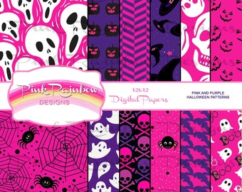 Pink and Purple Halloween Digital Pattern Papers for scrapbook and party, skulls, ghosts, spiders, bats, pirate, pumpkin, girl