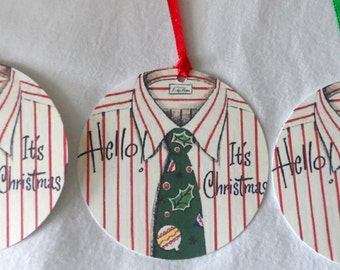 handmade round Christmas tags, Christmas tags, red & white stripe gift tags, shirt and tie Christmas gift tags, 8 Christmas tags
