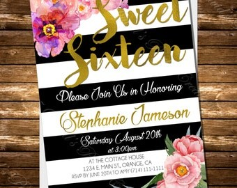Black and White Striped Sweet 16 Quinceanera Birthday Invitation Spade Inspired Gold Foil or Glitter Floral Invitation