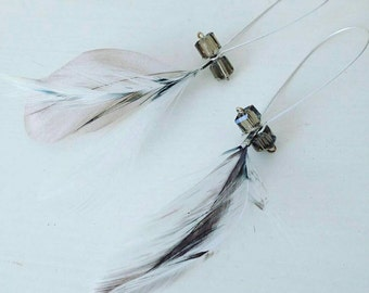 Feather and crystal earrings