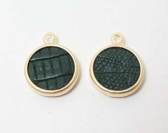 P0369/Anti-Tarnished Gold Plating Over Pewter+Dark Green Artifical Leather/Dark Green Leather Circle Pendant/13mm/4pcs