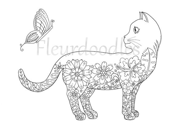 therapy coloring pages printable - coloring page doodle cat printable instant download