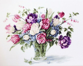 Flower Tulips Cross Stitch kit; Floral Counted Cross stitch Kit by Luca-S - Tulips ;  Mother's Day Gift; gift for her; Christmas gift