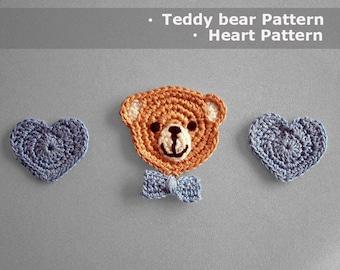 Crochet Pattern Teddy Bear Crochet Applique Teddy Bear Crochet Applique Pattern Crochet Heart Modern Crochet Applique teddy bear pattern
