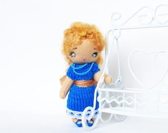 Miniature OOAK doll Rag doll Tiny doll in box Cloth doll Handmade doll Blue summer fairy doll Pocket doll Cotton doll Soft doll 4 inch Agnes