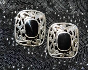 Onyx Earrings Sterling Silver