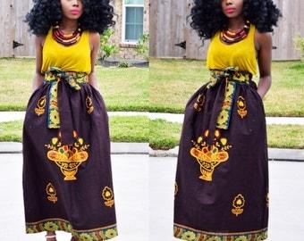 African skirt, maxi skirt, African Maxi skirt, African print skirt, African clothing, High waist skirt Ankara clothing
