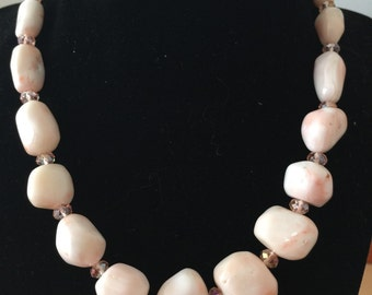 """Vintage natural white pink coral/pink crystal beads/Silver plated clasp with fresh water pearl/Necklace 18"""""""