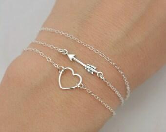Sterling Silver Bracelet Set, 3 Bracelet Set, Tiny Arrow Bracelet, Floating Heart Bracelet, Layered Bracelet Set, Gift for Her 0384