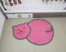 Tapis rug crochet rug pink cat, mat room girl, deco room baby, babys rugs, kids floor rug, baby cat rug, girl bedroom decor