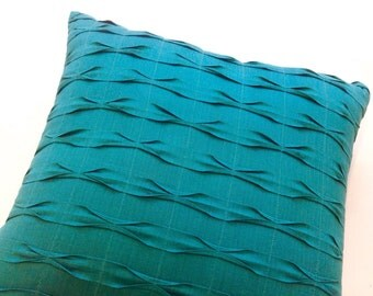 Teal Decorative Pillows for Couch Pillow Covers,Textured Throw Pillows,Teal Decor,Euro Pillow Sham,Designer Pillows,Euro Sham 26x26