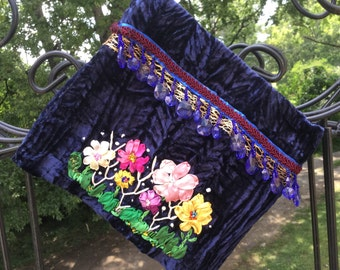 Midnight Blue Crushed Velvet Pouch Purse