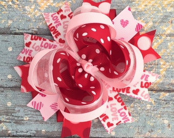 Valentine hair bow-valentine large layred hair bow- red pink white hair bow-valentine boutique hair bow-valentine girl headband-